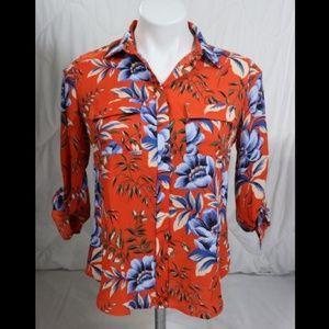 Ann Taylor LOFT Orange Blouse sz XS Petite NWT